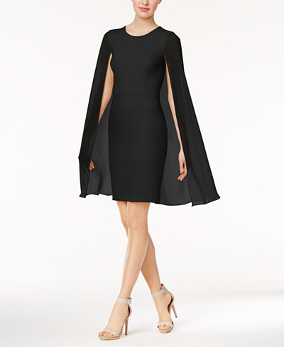 Calvin Klein Crepe Cape Dress