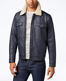 Levi's® Men's Faux-Leather Trucker Jacket with Faux-Sherpa Lined Collar