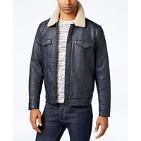 Levi's Mens Faux-Leather Trucker Jacket