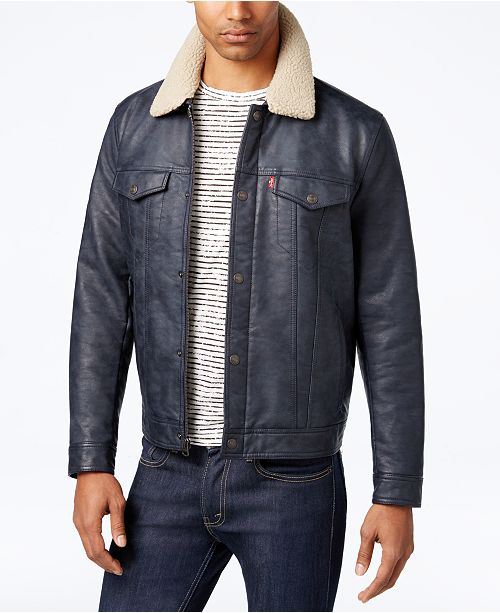 84bf8885675 ... Levi s Men s Faux-Leather Trucker Jacket with Faux-Sherpa Lined ...