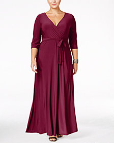 Love Squared Plus Size Faux-Wrap Maxi Dress