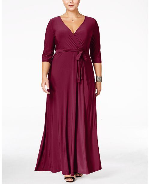 Love Squared Plus Size Faux-Wrap Maxi Dress & Reviews - Dresses ...