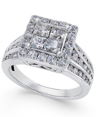 Diamond Square Halo Channel-Set Engagement Ring (2 ct. t.w.) in 14k White Gold