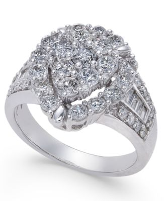 Teardrop Cluster Diamond Ring (2 Ct. T.w.) In 14k White Gold