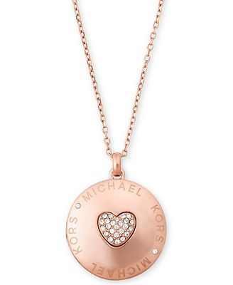 Michael kors rose gold tone pav heart logo locket pendant michael kors rose gold tone pav heart logo locket pendant necklace aloadofball Gallery