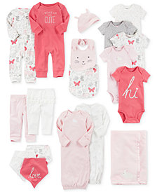 Carter's Blanket, Bodysuits, Sleeper Gowns, Coveralls, Bandana Bibs, Leggings & Accessories Set, Baby Girls