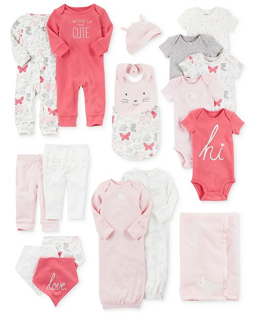 0f963a645cde Blanket, Bodysuits, Sleeper Gowns, Coveralls, Bandana Bibs, Leggings &  Accessories Set, Baby Girls