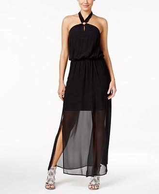 Thalia Sodi Illusion Hardware Halter Maxi Dress, Created for Macy's