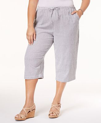 Karen Scott Plus Size Cotton Seersucker Capri Pants, Only at ...