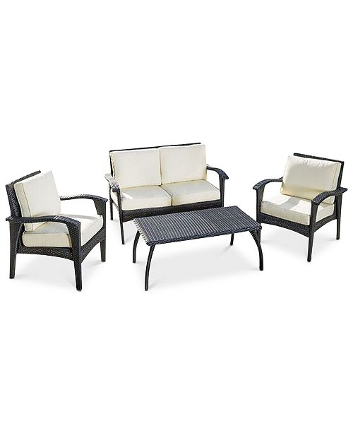 Noble House Aldin 4-Pc. Chat Set with Cushion, Quick Ship