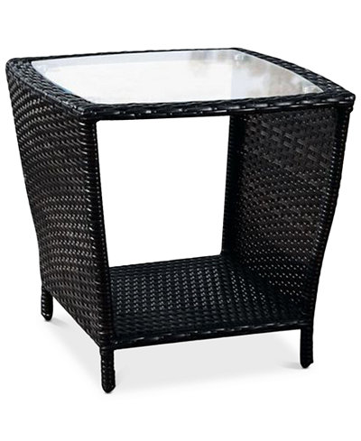 Cyna Side Table With Glass Top, Quick Ship