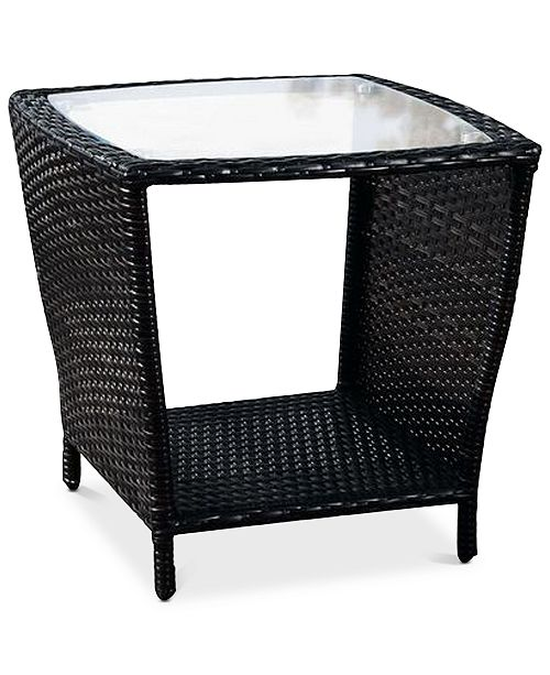 Noble House Cyna Side Table With Glass Top, Quick Ship