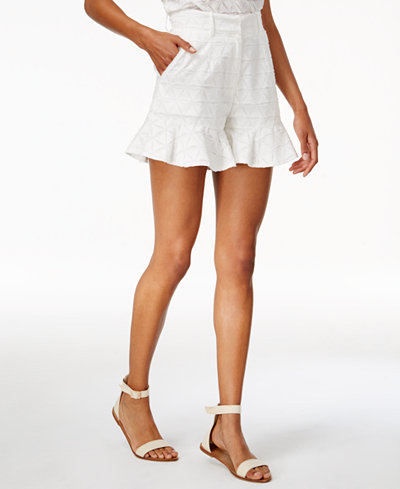 J.O.A. Textured Ruffled-Hem Shorts
