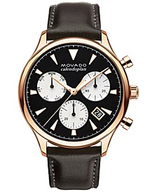 Men's Swiss Chronograph Heritage Series Calendoplan Chocolate Brown Leather Strap Watch 43mm 3650021