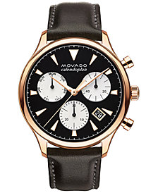 Movado Men's Swiss Chronograph Heritage Series Calendoplan Chocolate Brown Leather Strap Watch 43mm 3650021