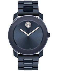 Movado Men's Swiss Bold Navy Stainless Steel & Polyurethane Bracelet Watch 42mm 3600444
