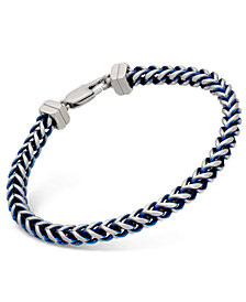 Esquire Men's Jewelry Large Link Chain Bracelet in Stainless Steel and Blue Ion-Plating, Created for Macy's