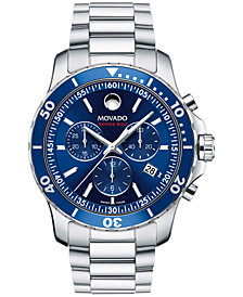 Movado Men's Swiss Chronograph Series 800 Performance Steel Bracelet Watch 42mm 2600141