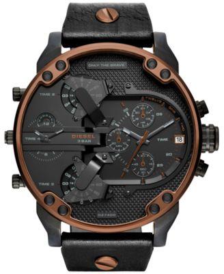 Men's Chronograph Mr. Daddy 2.0 Black Leather Strap Watch 57x66mm DZ7400