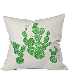 "Deny Designs Bianca Green Linocut Cacti 1 Family 16"" Square Decorative Pillow"