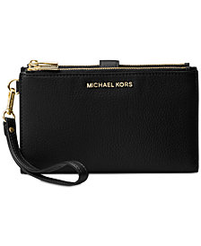 MICHAEL Michael Kors Adele Double-Zip Pebble Leather Phone Wristlet