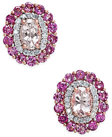 Multi-Gemstone (2-1/2 ct. t.w.) & Diamond (1/4 ct. t.w.) Stud Earrings in 14k Rose Gold