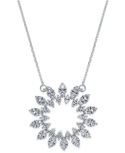 Macy's Diamond Sun Pendant Necklace (1-1/2 ct. t.w.) in 14k White Gold