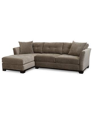 Furniture Closeout Elliot Fabric Microfiber 2 Pc Chaise