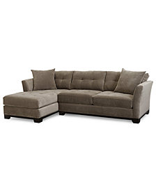 CLOSEOUT! Elliot Fabric Microfiber 2-Pc. Chaise Sectional Sofa, Created for Macy's