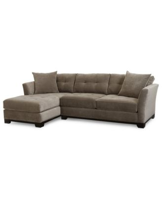 Elliot Fabric Microfiber 2-Pc. Chaise Sectional Sofa Created for Macyu0027s  sc 1 st  Macyu0027s : tufted sectional sofa with chaise - Sectionals, Sofas & Couches