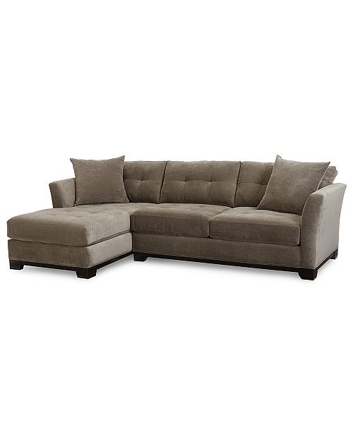 Furniture Elliot Fabric Microfiber 2-Pc. Chaise Sectional Sofa, Created ...