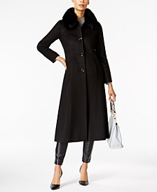 Fox-Fur-Trim Maxi Walker Coat