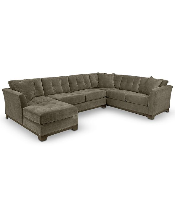 Furniture Elliot Fabric Microfiber 3-Piece Chaise Sectional Sofa, Created for Macy's