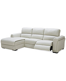 CLOSEOUT! Jessi 3-pc Leather Sectional Sofa with Chaise and 1 Power Recliner, Created for Macy's