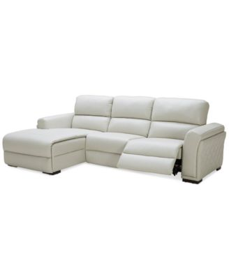 jessi 3pc leather sectional sofa with chaise and 1 power recliner created for
