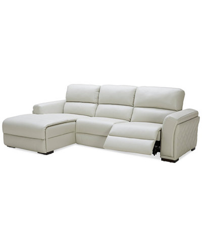Jessi 3 Pc Leather Sectional Sofa With Chaise And 1 Recliner