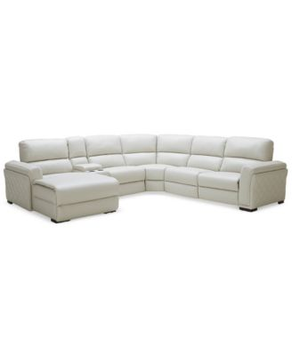 CLOSEOUT! Jessi 6-pc Leather Sectional Sofa with Chaise, Center Console and 1 Power Recliner, Created for Macy's