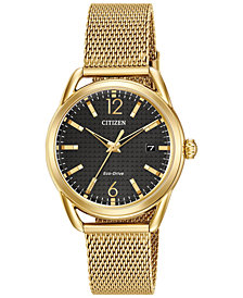 Citizen Women's Drive From Citizen Eco-Drive Gold-Tone Stainless Steel Mesh Bracelet Watch 34mm