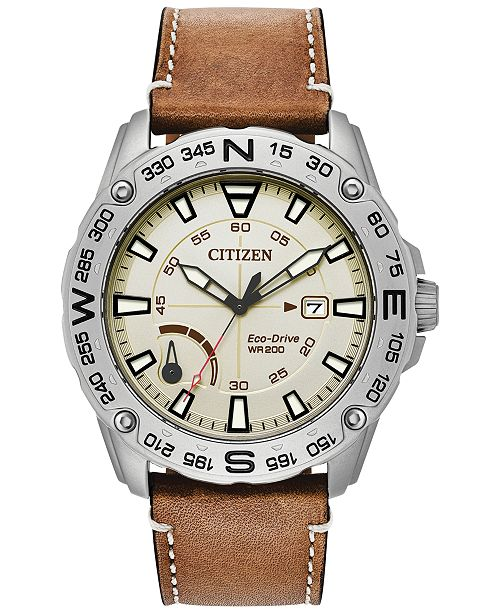 Citizen Men's Eco-Drive Brown Leather Strap Watch 44mm, Created for Macy's