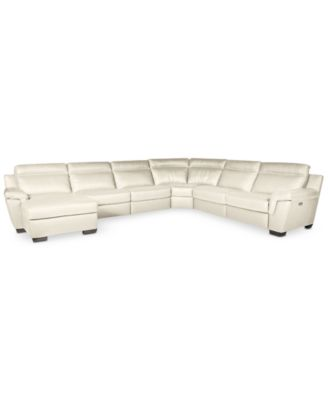 CLOSEOUT Julius 6pc Leather Sectional Sofa with Chaise and 2 Power