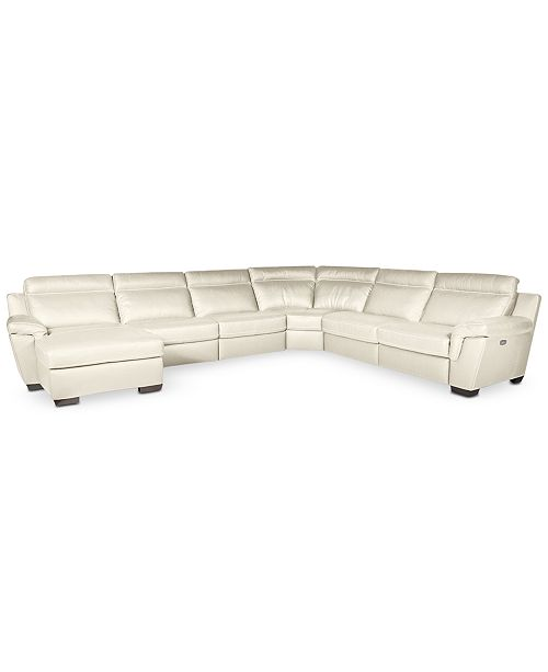 Julius 6 Pc Leather Sectional Sofa With Chaise And 2 Recliner