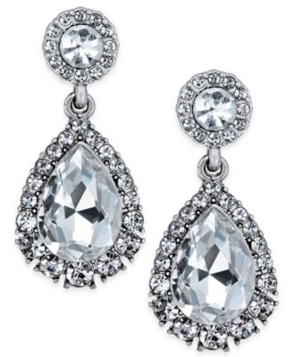 Image of Charter Club Silver-Tone Crystal Drop Earrings, Created for Macy's