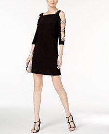 MSK Petite Rhinestone Cold-Shoulder Dress