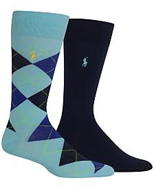 Polo Ralph Lauren Men's Socks, Dress Argyle Crew 2 Pack