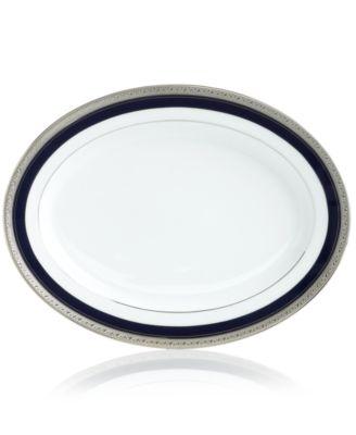 """""""Crestwood Cobalt Platinum"""" Oval Platter, 12"""""""