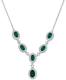 Lab-Created Emerald (2-3/4 ct. t.w.) and White Sapphire (1-1/2 ct. t.w.) Lariat Necklace in Sterling Silver