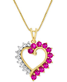 Lab-Created Ruby (3/4 ct. t.w.) and White Sapphire (1/3 ct. t.w.) Heart Pendant Necklace in 14k Gold-Plated Sterling Silver