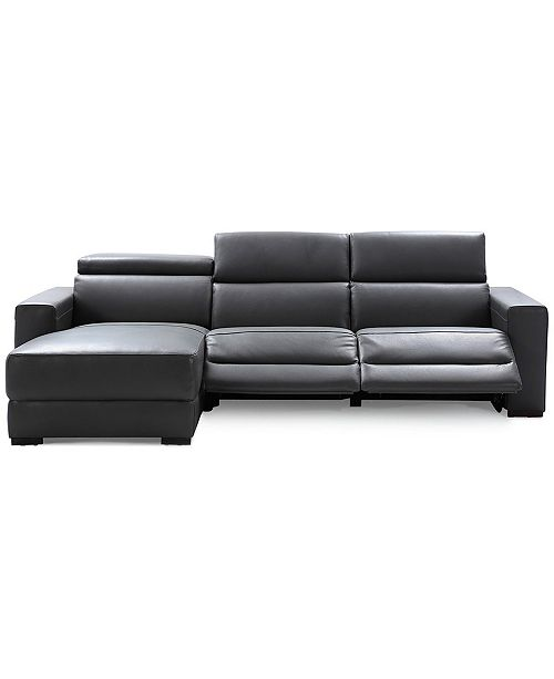 Furniture Nevio 3 Pc Leather Sectional Sofa With Chaise 2 Power Recliners And Articulating