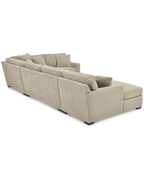 Furniture Radley 4 Piece Fabric Chaise Sectional Sofa