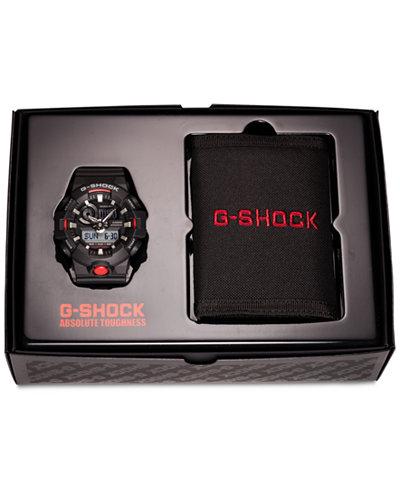 G-Shock Men's Analog-Digital Black Resin Strap Watch & Logo Wallet Gift Set 58mm